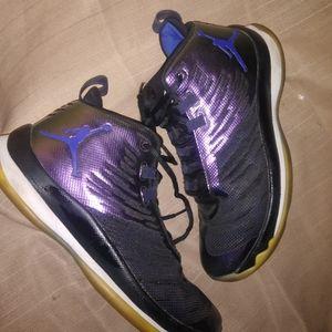 Jordans purple irradecent black white and blue